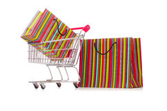The cart in holiday shopping concept Stock Photography
