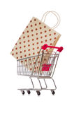 The cart in holiday shopping concept. Cart in holiday shopping concept Royalty Free Stock Images