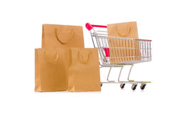 The cart in holiday shopping concept. Cart in holiday shopping concept Stock Photography