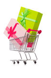 The cart in holiday shopping concept. Cart in holiday shopping concept Stock Images
