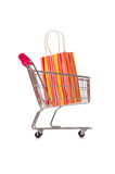 The cart in holiday shopping concept Royalty Free Stock Images