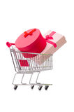 The cart in holiday shopping concept Royalty Free Stock Photos