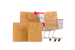The cart in holiday shopping concept. Cart in holiday shopping concept Stock Image