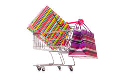 The cart in holiday shopping concept Stock Images
