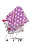The cart in holiday shopping concept Stock Photos