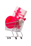The cart in holiday shopping concept Stock Photo