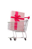 Cart in holiday shopping concept. The cart in holiday shopping concept Stock Photos