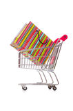 Cart in holiday shopping concept. The cart in holiday shopping concept Stock Image