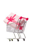 Cart in holiday shopping concept Royalty Free Stock Photos