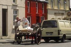 Cart and horse, Eyeries Village, West Cork, Ireland Stock Photo
