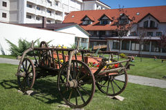 Cart with hotel in background Stock Photo