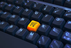 Cart icon button on keyboard Stock Images