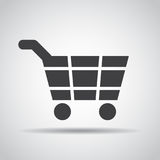 Cart icon with shadow on a gray background. Vector illustration Royalty Free Stock Image