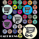Cart icons on color circle Royalty Free Stock Image