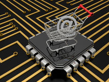 The cart with internet symbol Stock Photo