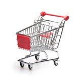 cart klassiskt tömmer över röd shoppingsilverwhite Arkivfoto
