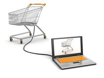 Cart and Laptop (clipping path included) Stock Photography