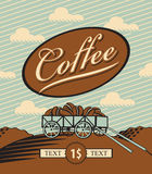 Cart loaded with coffee beans. Retro banner with a cart loaded with coffee beans Royalty Free Stock Photography