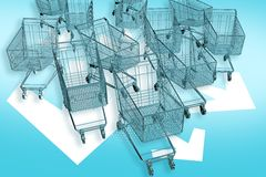 Cart-mageddon!. Shopping Carts Attacks! Fast Ride Follow White Arrows. Marketing E-Commerce Theme. 3D Render Illustration Stock Photo