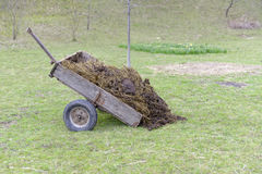 Cart of manure in field, Transylvania, Romania Royalty Free Stock Images