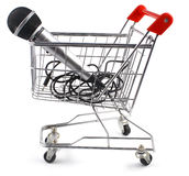 Cart and microphone Royalty Free Stock Photography