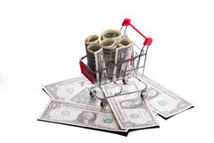 Cart with money. Stock Photos