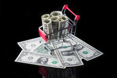 Cart with money. Stock Images
