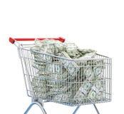 Cart with money, dollars, 3d render illustration. Dollars in cart, shopping, money Stock Image