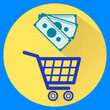Cart and money. Isolated icons flat style. Vector illustration Stock Image