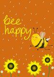 Cart?o c?mico ou c?pia em um t-shirt Duas abelhas bonitos em um fundo alaranjado Ilustra??o do vetor Abelha do subt?tulo feliz ilustração royalty free