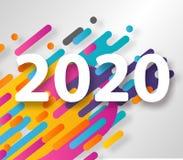 Cart?o criativo do ano novo feliz 2020 no fundo din?mico moderno Aperfei?oe para apresenta??es, insetos e bandeiras, folhetos ilustração royalty free
