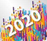 Cart?o criativo do ano novo feliz 2020 no fundo din?mico moderno Aperfei?oe para apresenta??es, insetos e bandeiras, folhetos ilustração do vetor