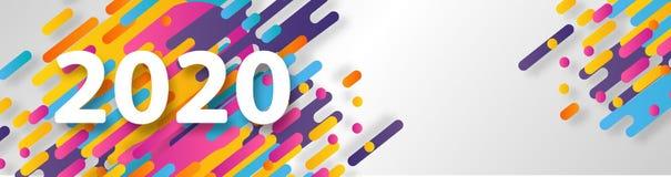 Cart?o criativo do ano novo feliz 2020 no fundo din?mico moderno Aperfei?oe para apresenta??es, insetos e bandeiras, folhetos ilustração stock