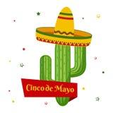 Cart?o da celebra??o para Cinco de Mayo Feriado em M?xico Vetor ilustração royalty free