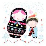 Cart?o de Natal com uma boneca e um menino Fotografia de Stock