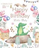 Cart?o do feliz aniversario com o animal bonito da aquarela do elefante Cart?o bonito do BEB? Flores de Boho e ramalhetes florais ilustração royalty free