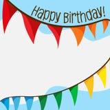 Cart?o do feliz aniversario com bandeiras ilustração royalty free