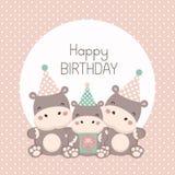 Cart?o do feliz aniversario com desenhos animados bonitos do hipop?tamo ilustração royalty free