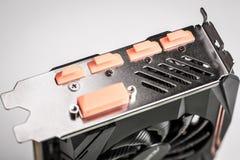 Cart?o gr?fico com DVI, conectores do jogo profissional do PC de HDMI Displayport fotografia de stock