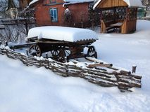 Cart. An old cart near the fences in the village Stock Images