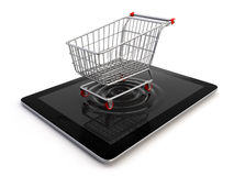 Cart over tablet Stock Photos