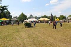 Cart with oxes on Sorochyn fair. Velyki Sorochyntsi, Ukraine - August 20, 2016: Cart with oxes  on Sorochyn fair Royalty Free Stock Photos