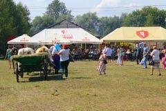 Cart with oxes on Sorochyn fair. Velyki Sorochyntsi, Ukraine - August 20, 2016: Cart with oxes  on Sorochyn fair Stock Photos