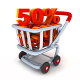 Cart and percent 50. (done in 3d, isolated Vector Illustration