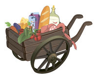 The cart with products cartoon Royalty Free Stock Photos