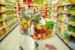 Cart with products Royalty Free Stock Photography