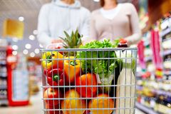 Cart with products Stock Image