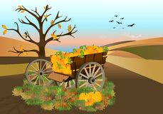 Cart with pumpkins, cdr vector Stock Photo