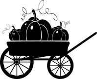 Cart with pumpkins. Silhouette Royalty Free Stock Photos