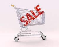 Cart for purchases and sale royalty free stock photos